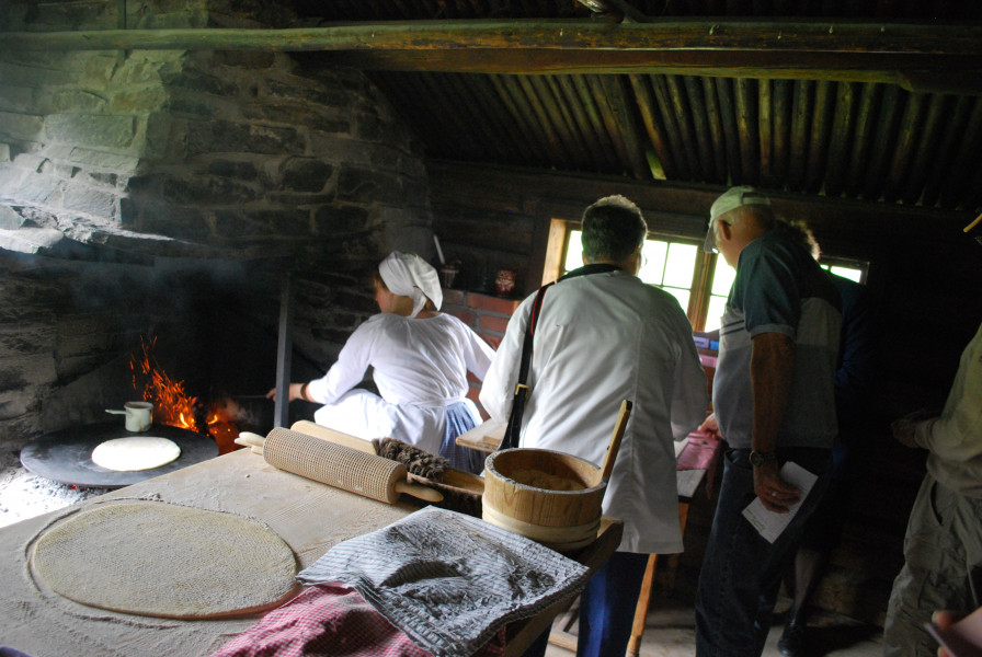 Demonstration of baking lefse on the 2014 tour